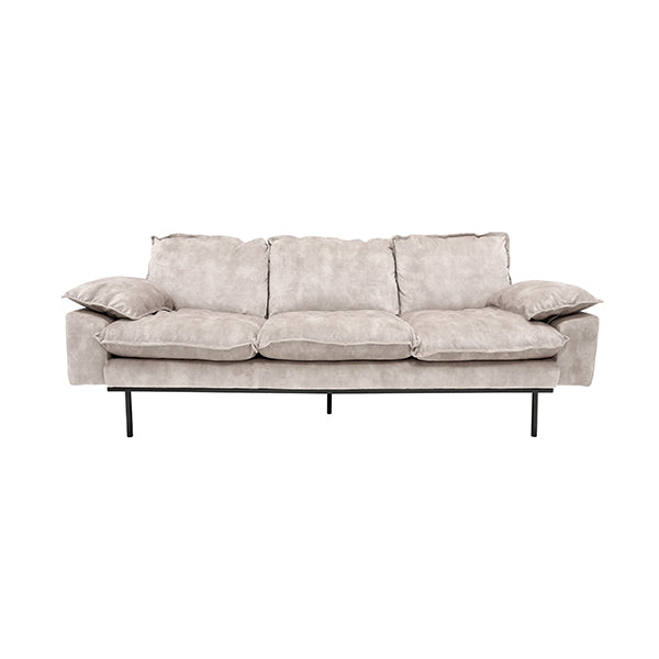 Retro velvet sofa with hocker