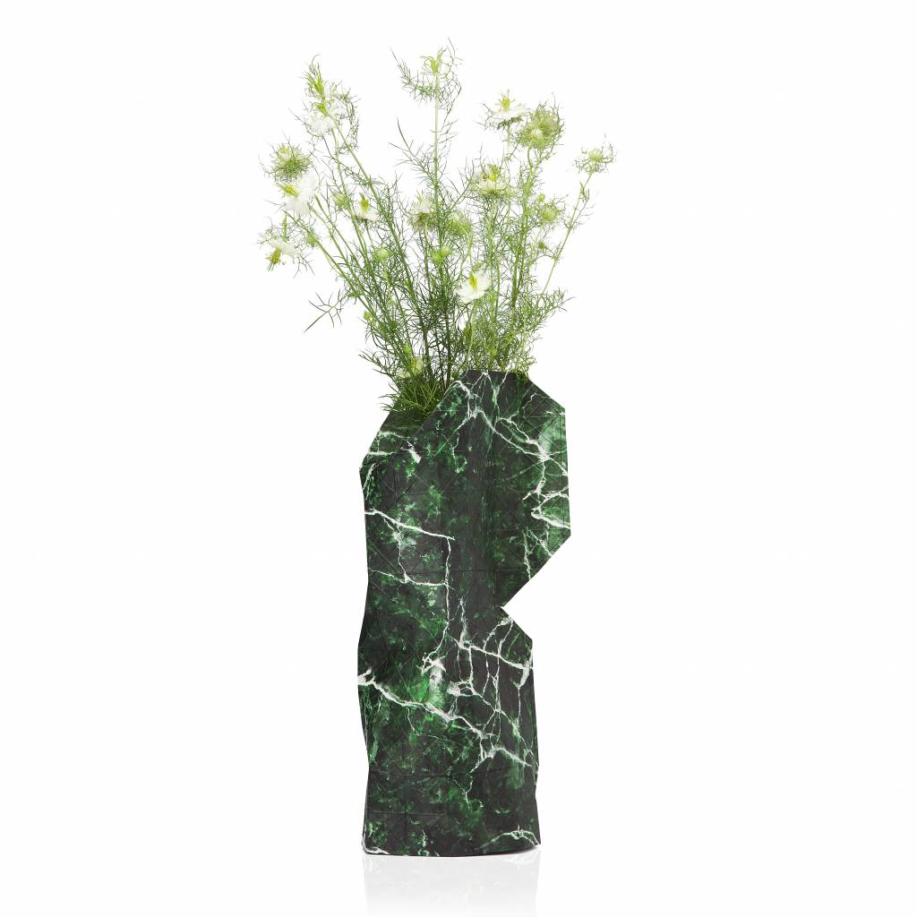 Paper vase cover Marble green