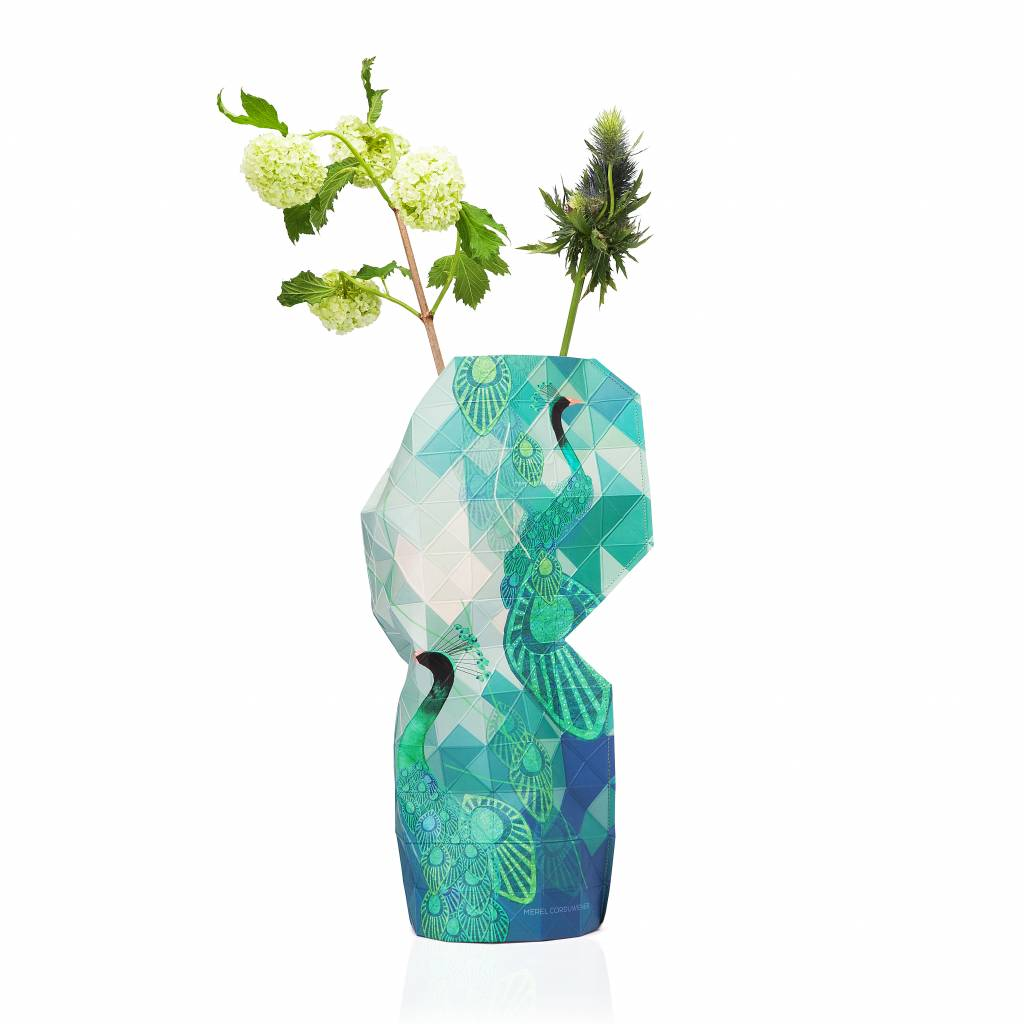 Paper vase cover Peacock
