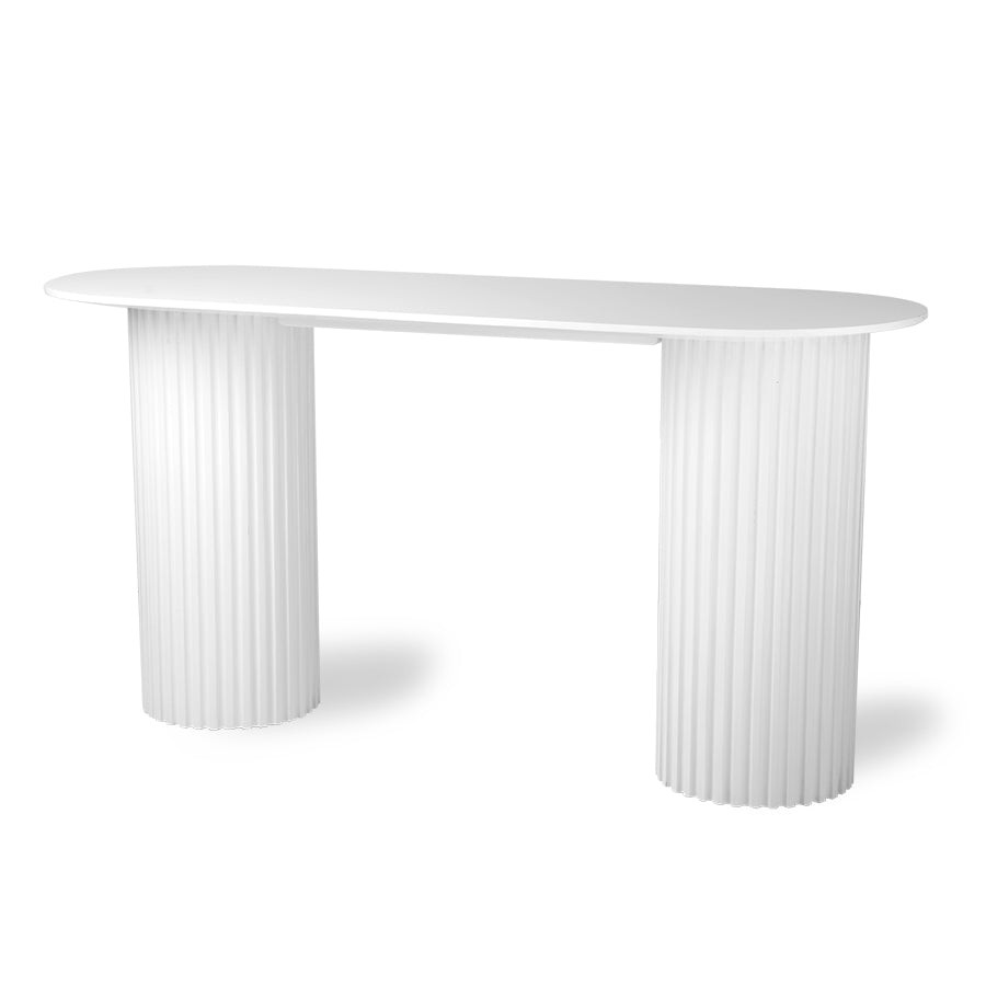 Pillar side Table oval white