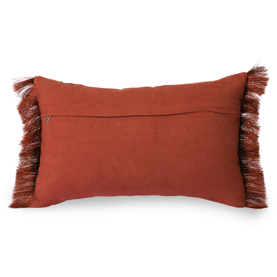 Fringed velvet tiger cushion red