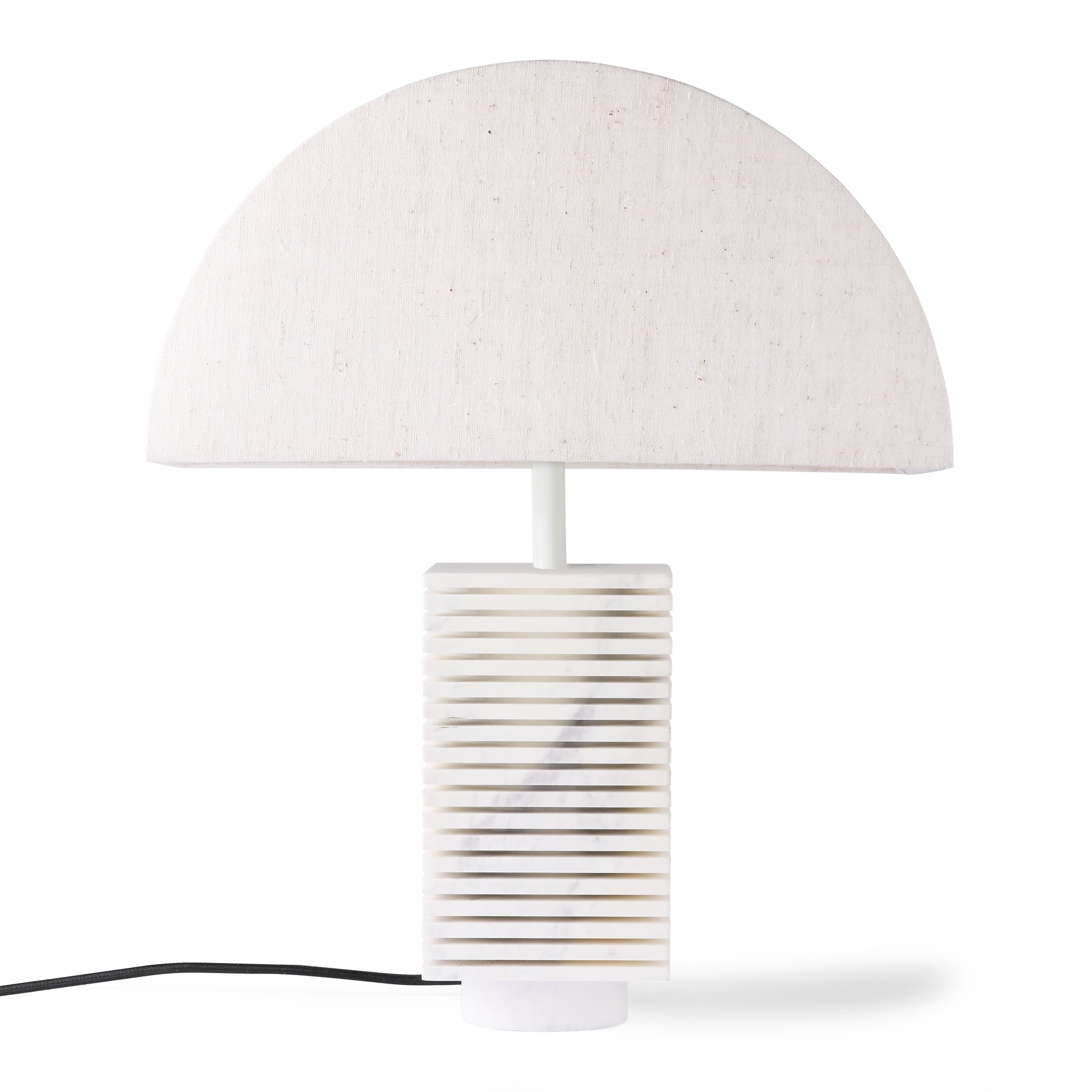 ribbed table lampbase white marble