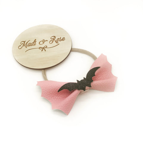 Pink & Black Bat Bow
