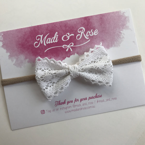 Lace 'Abbie' Bow - White