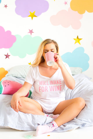 WILL WAKE FOR WINE PYJAMA SET