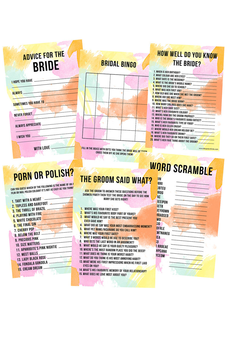 bridal shower hen bachelorette party games pack
