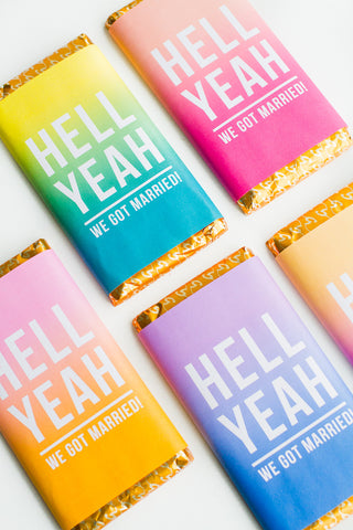 HELL YEAH OMBRE CHOCOLATE BAR WRAPPER PRINTABLE FAVOURS