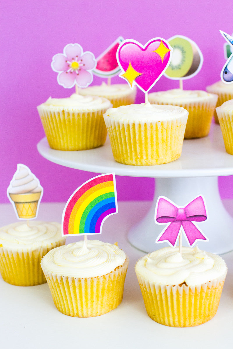 picture relating to Unicorn Cupcake Toppers Printable identified as EMOJI CUP CAKE TOPPERS PRINTABLE