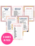 BRIDAL SHOWER / HEN / BACHELORETTE PARTY BLUSH GEOMETRIC GAMES PACK