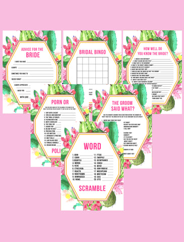 BRIDAL SHOWER / HEN / BACHELORETTE PARTY CACTUS THEMED GAMES PACK