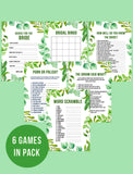 BRIDAL SHOWER / HEN / BACHELORETTE PARTY GREEN FOLIAGE THEMED GAMES PACK