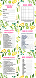 BRIDAL SHOWER / HEN / BACHELORETTE PARTY LEMON MEDITERRANEAN THEMED GAMES PACK