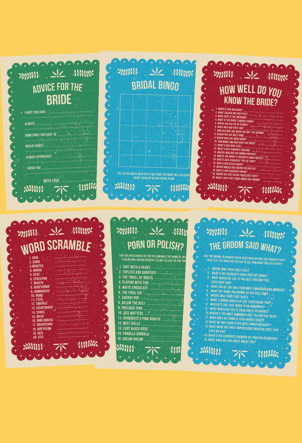 BRIDAL SHOWER / HEN / BACHELORETTE PARTY MEXICAN FIESTA THEMED GAMES PACK