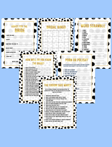 BRIDAL SHOWER / HEN / BACHELORETTE PARTY BLACK & WHITE THEMED GAMES PACK