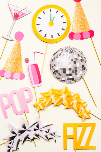 MODERN NEW YEARS EVE PARTY PHOTO BOOTH PROPS PRINTABLE DOWNLOAD
