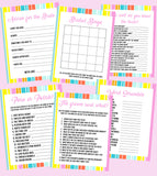 BRIDAL SHOWER / HEN / BACHELORETTE PARTY GAMES PACK IN RAINBOW THEME