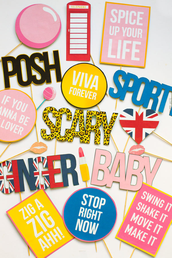 SPICE GIRLS PHOTO BOOTH PROPS PACK PRINTABLES