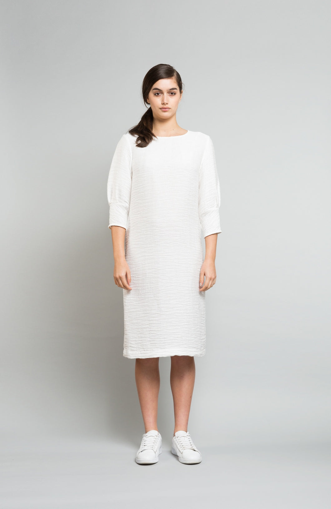 Ebony day dress, rayon, ivory