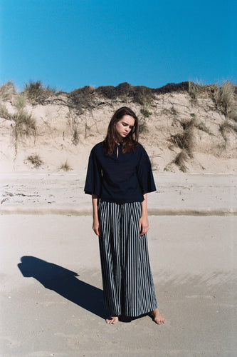 Julia pants, linen, navy pin