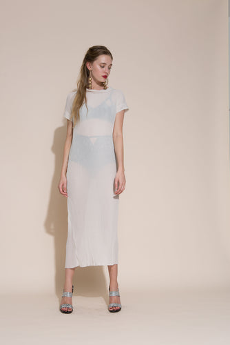 Akiko needle dress, polyester, haze