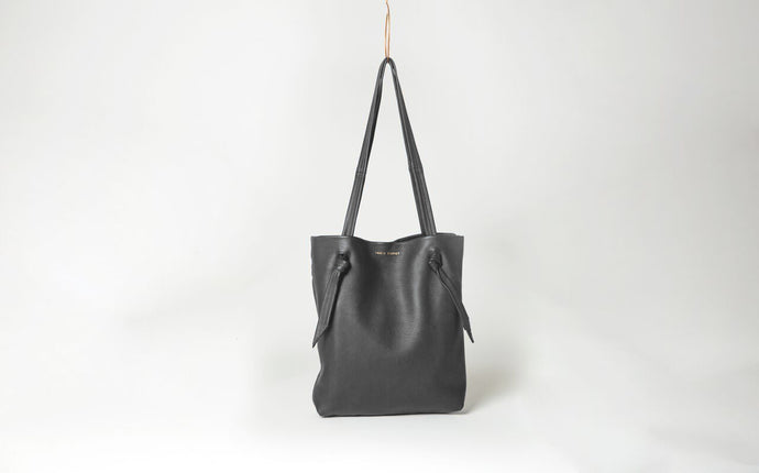 Ingrid Starnes leather tote, deer nappa, charcoal