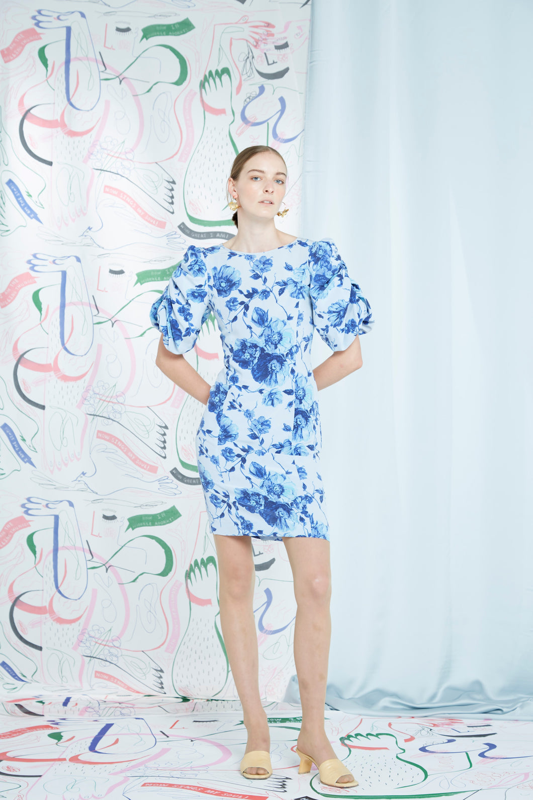 Lavonia dress, blue bloom, silk