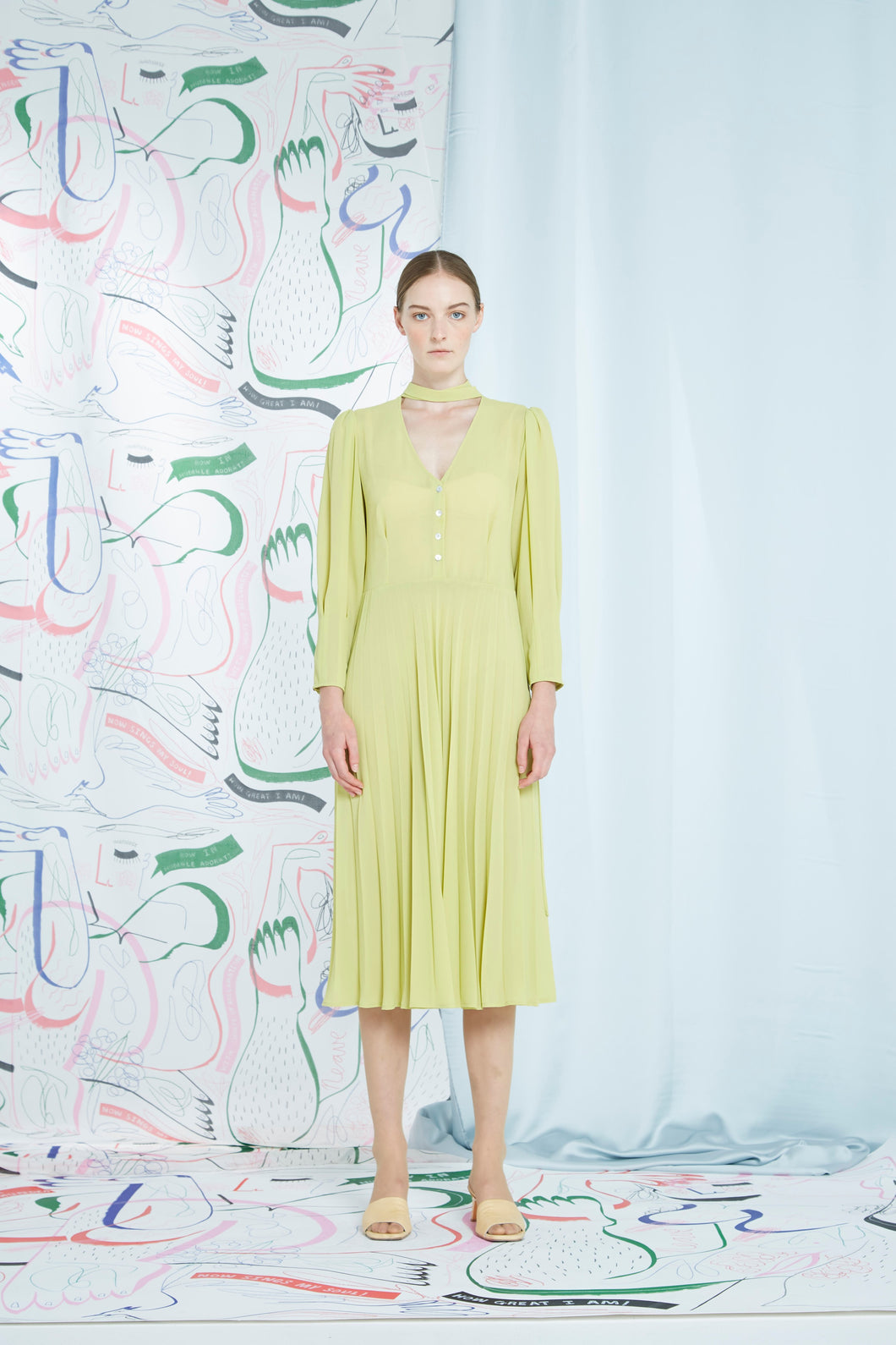 Quinta Pleat Dress, pear
