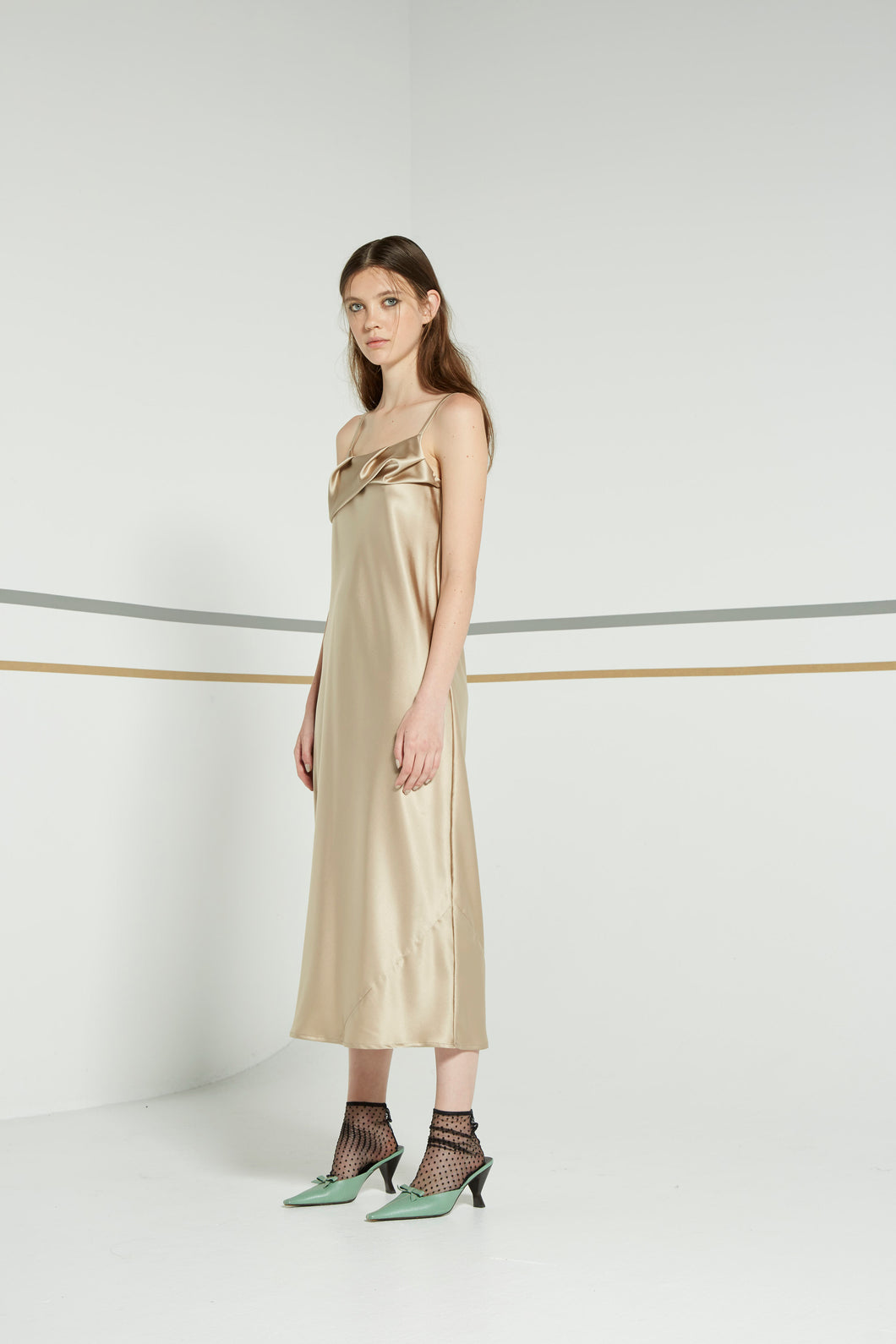 Otherness dress, liquid gold