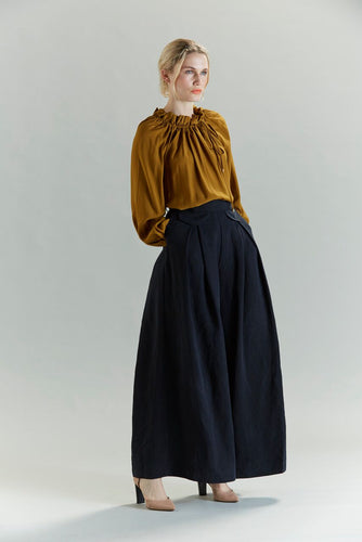 Yanka pants, linen, tencel, washed black