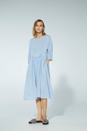 Blanche dress, silk jacquard, bluebell - PRE-ORDER