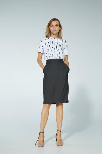Hemming skirt, rayon, acetate, nailhead