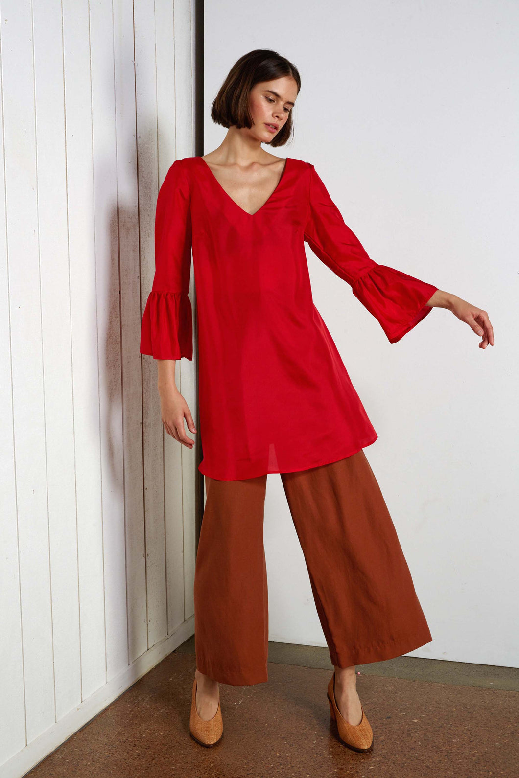Polydore dress, scarlet