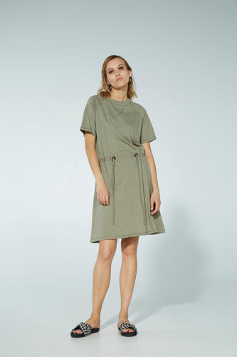 Moon dress, organic cotton, sage