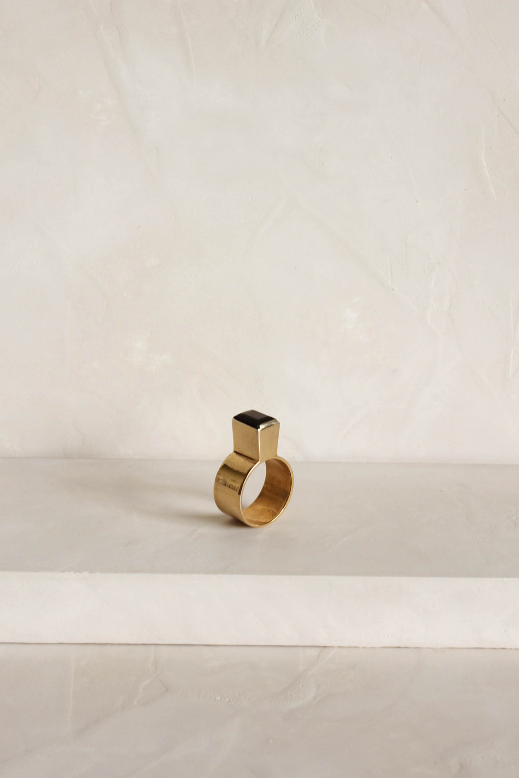 Series 4, ring 2.2, gold plated, smokey quartz
