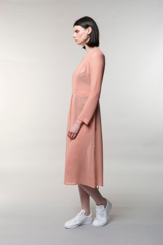 Charlotta day dress, silk, carnation