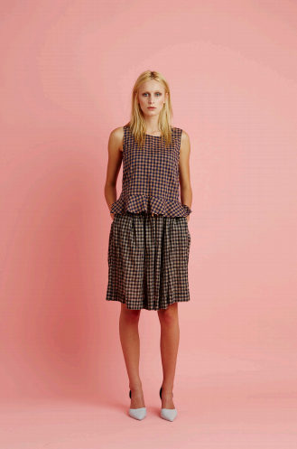 Archive- Otto skirt, cotton, natural check, SS15