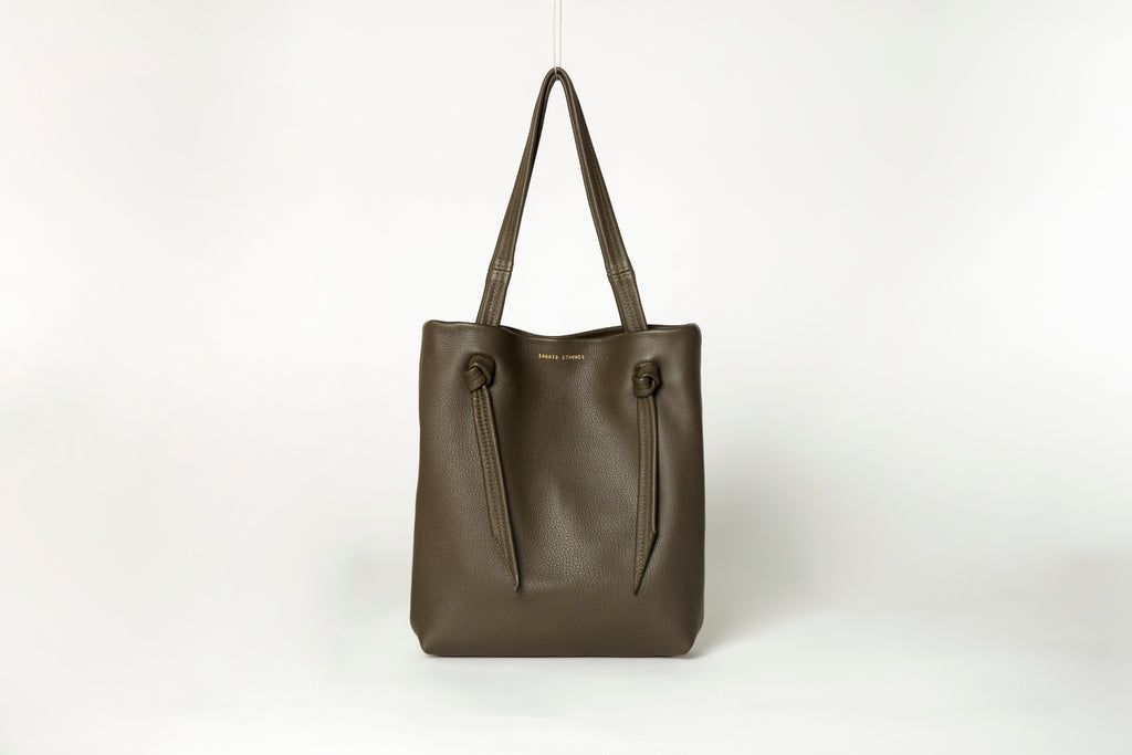 Ingrid Starnes leather tote, deer nappa, deep moss
