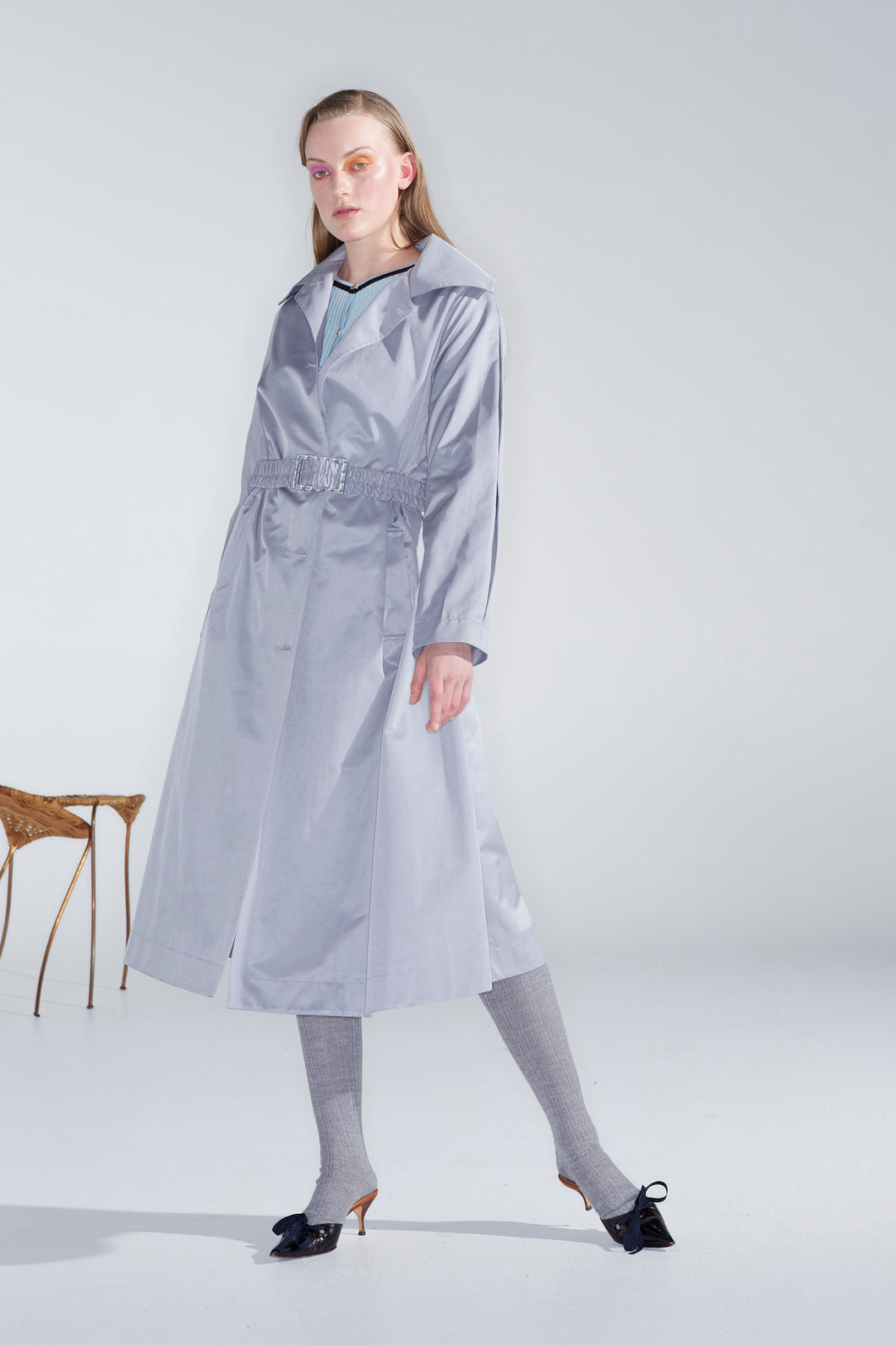 Joella trench, silver grey