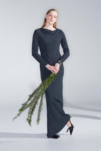 Veiled dress, oil green - PRE-ORDER