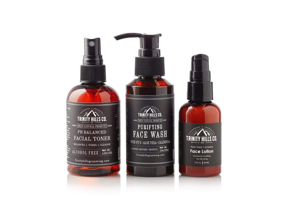 AM Face Kit - Men's Natural Products - Trinity Hills Co - PH balanced toner - purifying face wash - face lotion - face moisturizer - anti acne - sensitive skin