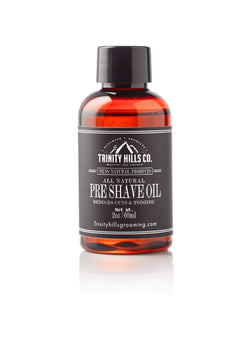 all natural pre shave oil - mens natural products  - Trinity Hills Co - anti razor bump - wet shaving