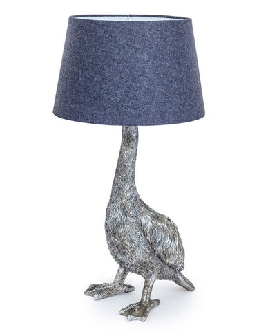 SILVER GOOSE LAMP WITH GREY SHADE