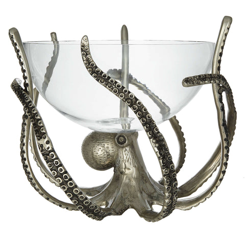 Culinary Concepts Silver & Glass Octopus Bowl