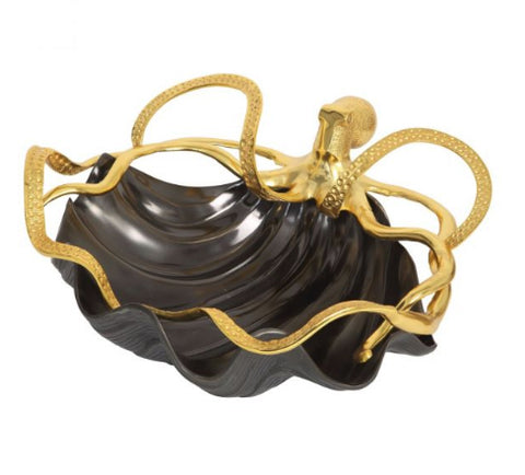 Culinary Concepts Shell Bowl with Gold Octopus