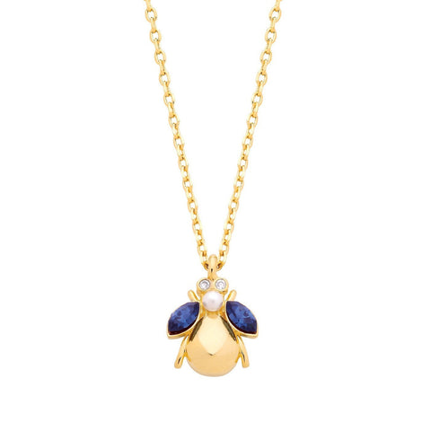 ESTELLA BARTLETT BLUE PEARL BUG NECKLACE