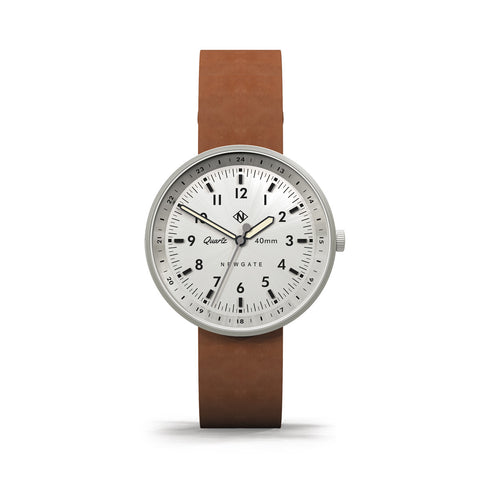NEWGATE STEEL TAN LEATHER TORPEDO WATCH