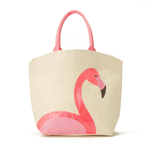 TWOS COMPANY FLAMINGO PINK SEQUIN TOTE BAG