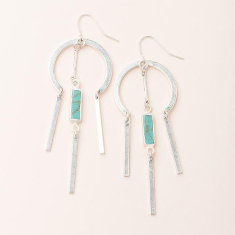 Dream Catcher Stone Earring Turquoise/Silver