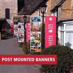 Post mounted banner systems