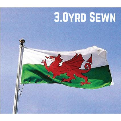 Sewn Woven Polyester Wales Flag 3.0yrd
